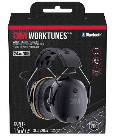3M - 90543-4DC WorkTunes Connect Hearing Protector with Bluetooth Technology, 24 dB NRR, Ear protection for Mowing, Snowblowing, Construction, Work Shops Black
