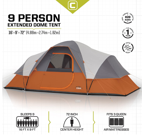 core 9 person instant cabin tent review